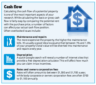 Cash flow snippet from suburb research formula article in YIP